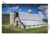 Summer Sunset With A Red Barn In Rural Montana And Rocky Mountai Carry-all Pouch