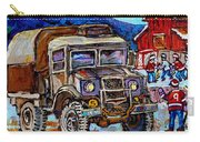 50's Dodge Truck Red Wood Barn Outdoor Hockey Rink  Art Canadian Winter Landscape Painting C Spandau Carry-all Pouch