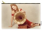 60s Pin Up Girl With Vintage Record Phonograph Carry-all Pouch