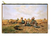 Peasants Lunching In A Field Daniel Ridgway Knight Carry-all Pouch