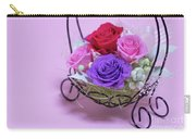 A Gift Of Preservrd Flower And Clay Flower Arrangement, Colorful Carry-all Pouch