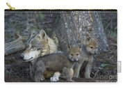 Gray Wolf And Cubs Carry-all Pouch