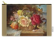 A Basket Of Flowers And A Butterfly Hans Zatzka Carry-all Pouch