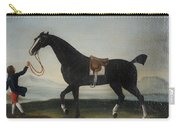 A Black Horse Held By A Groom Carry-all Pouch