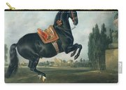 A Black Horse Performing The Courbette Carry-all Pouch