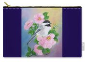 A Blackcapped Chickadee And Roses Carry-all Pouch