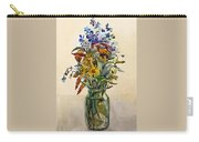 A Bouquet Of Wild Flowers In A Glass Jar. Carry-all Pouch