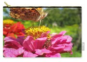 A Butterfly On The Pink Zinnia Carry-all Pouch