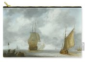 A Calm Sea With A Man Of War And A Fishing Boat Carry-all Pouch