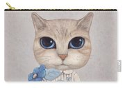 A Cat With A Blue Flower Carry-all Pouch