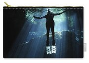 A Cavern Diver Ascends In The Cenote Carry-all Pouch by Karen Doody