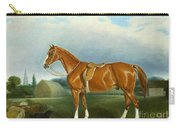 A Chestnut Hunter And A Spaniel By Farm Buildings  Carry-all Pouch by John E Ferneley