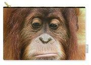 A Close Portrait Of A Sad Young Orangutan Carry-all Pouch