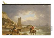 A Coastal Landscape Of The Isle Of Wight With Figures On Horse Back Near A Cottage Carry-all Pouch