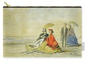 A Couple Seated And A Couple Walking On The Beach Carry-all Pouch