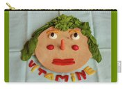A Cutting-board With Pieces Of Colorful Vegetables  On A Blue  Tablecloth Carry-all Pouch