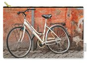 A Dejected Bicycle Waits Patiently On A Cobbled Street In Rome. Carry-all Pouch