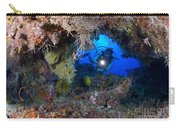 A Diver Peers Through A Coral Encrusted Carry-all Pouch
