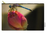 A Dragonfly Rests Momentarily On A Lotus Bud Carry-all Pouch