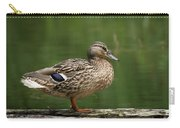 A Female Mallard Standing On A Piece Of Wood Carry-all Pouch