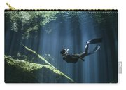 A Freediver In Taj Mahal Cenote Carry-all Pouch by Karen Doody