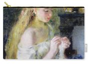 A Girl Crocheting Carry-all Pouch by Pierre Auguste Renoir