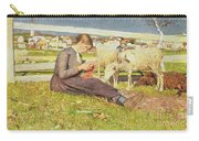 A Girl Knitting Carry-all Pouch by Giovanni Segantini