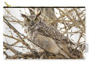 A Great Horned Owl's Wide Eyes Carry-all Pouch