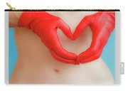 A Heart Of Red Leather Carry-all Pouch
