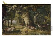A Herd Of Stag And A Fawn In A Woodland Landscape Carry-all Pouch