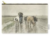 A Herdess With Cows On A Country Road In The Rain Carry-all Pouch