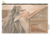 A Lady Copying At A Drawing Table Carry-all Pouch