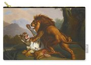 A Lion And Tiger In Combat Carry-all Pouch