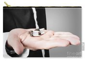 A Male Model Showcasing Cuff Links In His Hand Carry-all Pouch