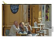 A Man A Woman A French Cafe Carry-all Pouch by Allen Sheffield