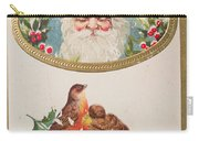 A Merry Christmas From Santa Claus Vintage Greeting Card With Robins Carry-all Pouch