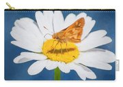 A Moth Collects Pollen On A Single Daisy Blossom. Carry-all Pouch
