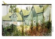 Watercolor Of An Old Wooden Barn Painted Green With Silo In The Sun Carry-all Pouch