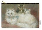 A Persian Cat And Her Kittens Carry-all Pouch by Maud D Heaps