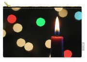 A Red Christmas Candle With Blurred Lights Carry-all Pouch