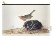 A Robin Perched On A Mossy Stone Carry-all Pouch