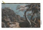 A Rocky Wooded Landscape With Three Peasants Carry-all Pouch