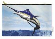 A Sleek Blue Marlin Bursts Carry-all Pouch