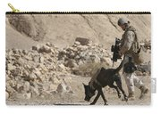 A Soldier And His Dog Search An Area Carry-all Pouch