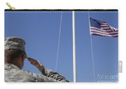 A Soldier Salutes The American Flag Carry-all Pouch