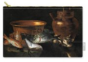A Still Life Of Fish With Copper Pans And A Cat  Carry-all Pouch