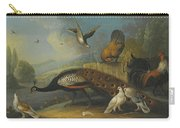 A Still Life With A Peacock, Pigeons And Chickens In A River Landscape Carry-all Pouch