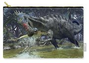 A Suchomimus Snags A Shark From A Lush Carry-all Pouch by Walter Myers
