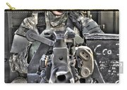 A Uh-60 Black Hawk Door Gunner Manning Carry-all Pouch by Terry Moore