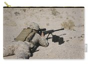 A U.s. Marine Zeros His M107 Sniper Carry-all Pouch by Stocktrek Images